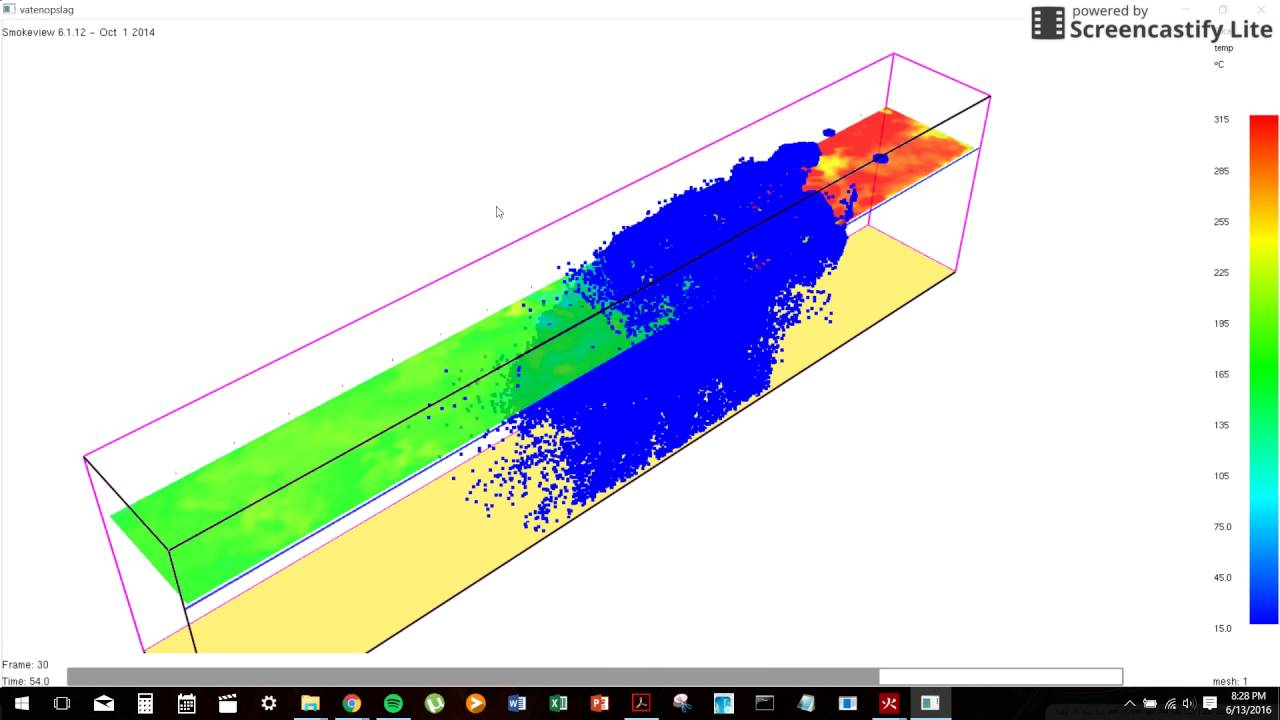 CFD (FDS) fire simulation of sprinkler activation