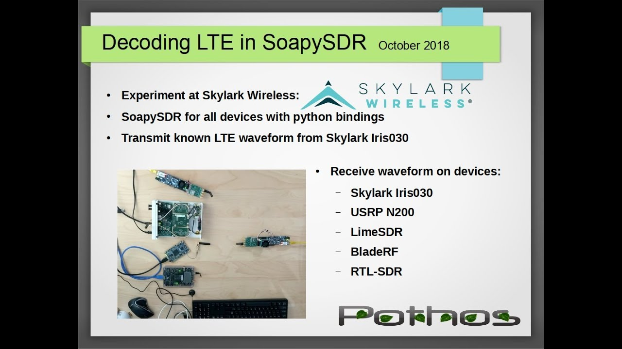 SoapySDR: Decoding LTE across devices by Pothos