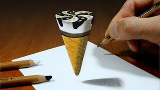 3D Trick Art on Paper   Ice Cream   Optical Illusion