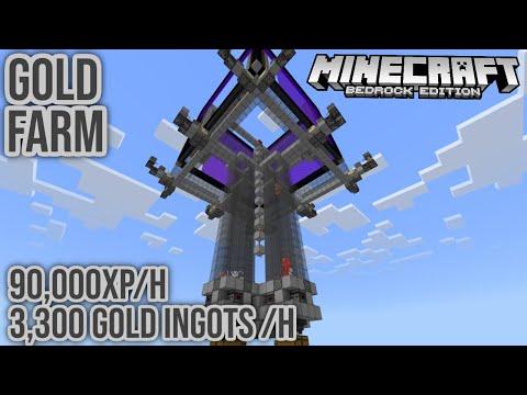 Fast Gold & XP Farm 90,000XP/h Minecraft Bedrock Tutorial 1.14.1