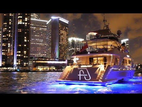 2017 Miami International Boat Show & City Skyline from Biscayne Bay