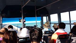 progreso mexico 4 mile long pier bus ride back to the carnival valor