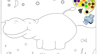 Hippo Coloring Pages For Kids - Hippo Coloring Pages