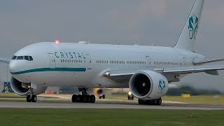 Man United leave for Perth,Australia onboard Crystal B777 at Manchester Airport