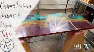 Copper Patina Epoxy Resin Table