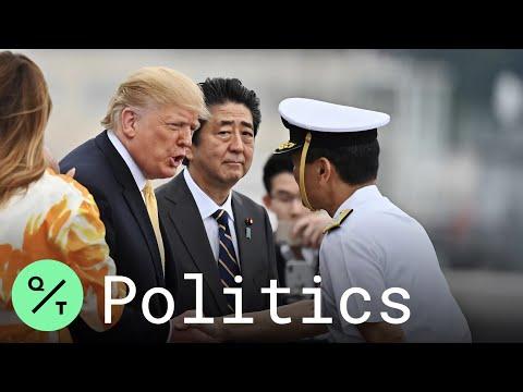 President Trump, PM Abe Tour Japanese Destroyer J.S. Kaga Near Yokosuka Naval Base