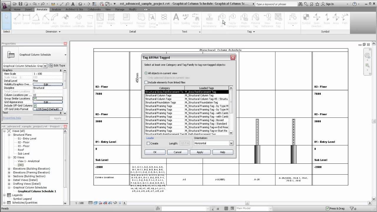 Autdoesk Revit Structure Modifying Graphical Column