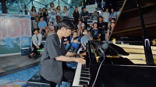 電鉄駅で男子高校生の鳥肌たつストリートピアノ演奏.. 上手すぎ