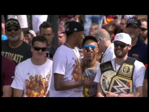 Jordan McRae talks at Cavaliers Championship Rally