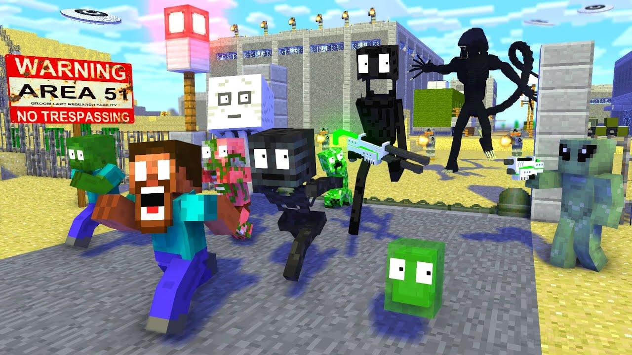 Download Monster School : AREA 51 RAID ALIEN APOCALYPSE - Minecraft Animation