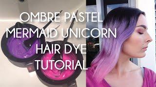 OMBRE PASTEL MERMAID UNICORN HAIR DYE TUTORIAL Thumbnail