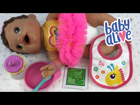 Feeding Baby Alive Olivia Changing Time Baby Green Veggies Doll Food