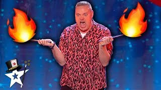 Funny Magician Puts on A Fiery Performance on Britain's Got Talent | Magicians Got Talent