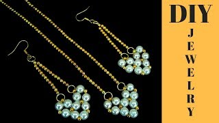 Beaded earrings.(pendant) How to make earrings. Beginner beading project. 10 minutes DIY earrings