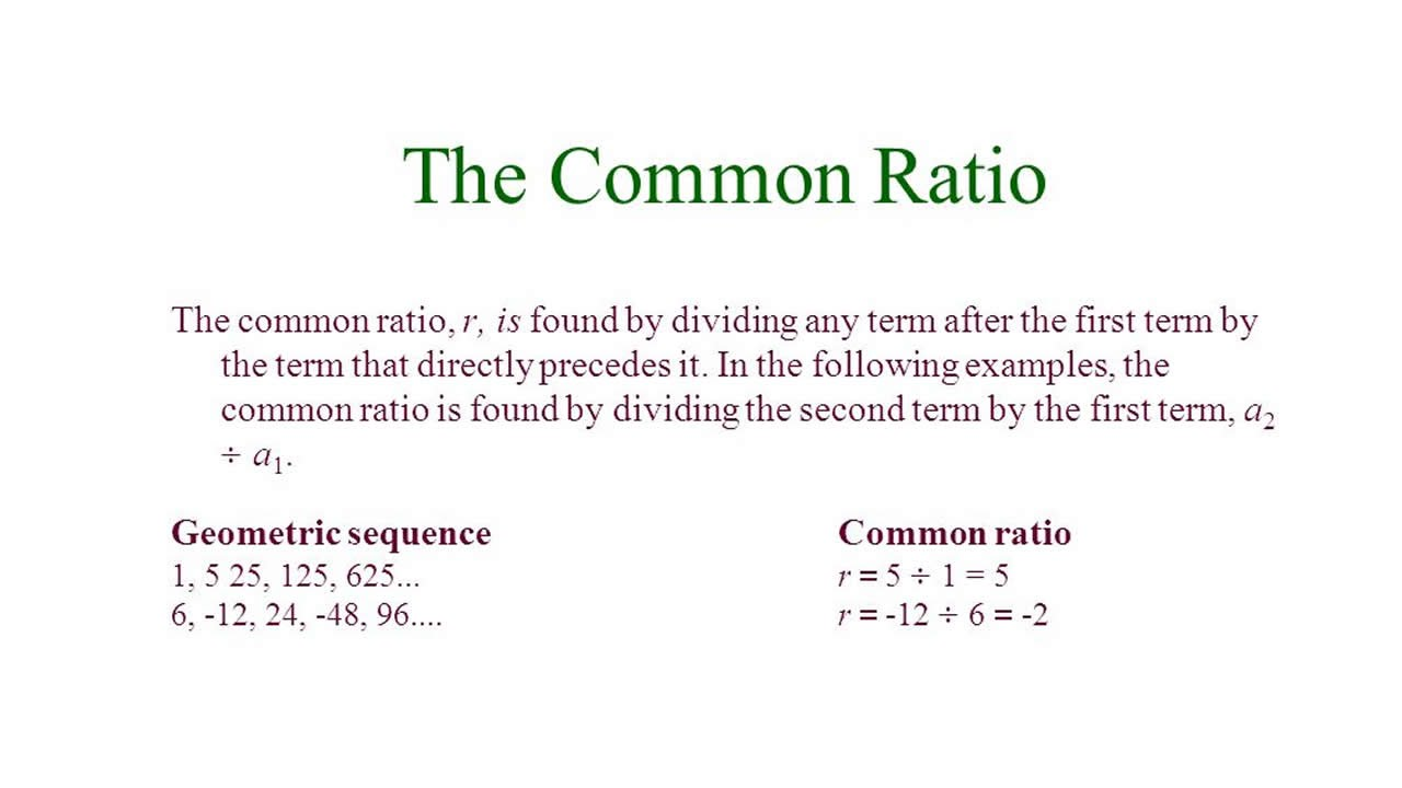 Find the common ratio of a GP?