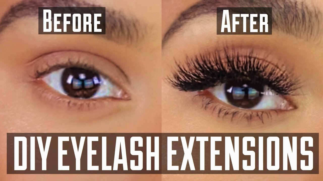 dca65202097 DIY PERMANENT AT HOME EYELASH EXTENSION APPLICATION - YouTube