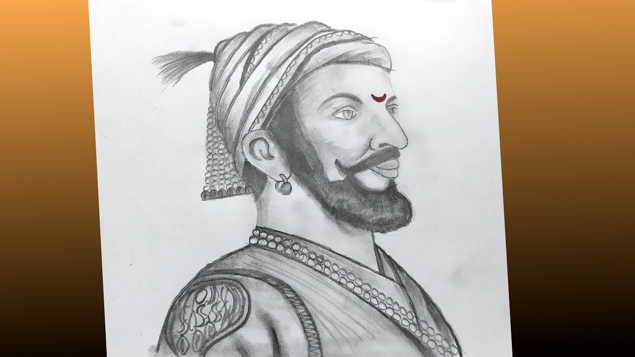 How to draw shivaji maharaj face pencil drawing step by step tutorial