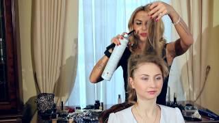 Как сделать вечернюю прическу для волос средней длины.
