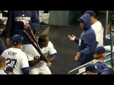 Hyun-Jin Ryu 류현진 Steals Juan Uribe's Bats 4-25-14 + Dugout Craziness