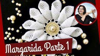 CROCHE AULA FLOR MARGARIDA EM CROCHE PAR...