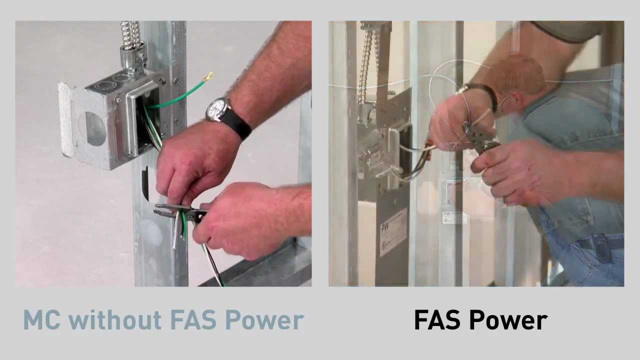 cablofil fas power prefab wiring vs mc cable without side by rh youtube com MC Cable Sizes connecting mc cable to plastic box