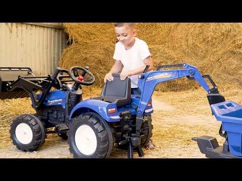 Трактор бульдозер экскаватор детский педальный с прицепом и двумя ковшами синий FALK от 3 до 8 лет