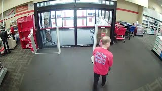 Surveillance footage provided by Lacey Police shows Tim Eyman walki...