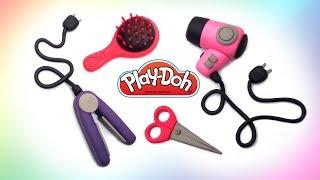 Girls Set. Hairdresser Salon Play Doh Toys DIY How make Scissors, Brush Comb, Hair Iron, Hair Dryer