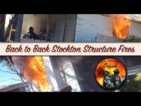 Back to Back Stockton Structure Fires • Interior Attack • Radio Traffic