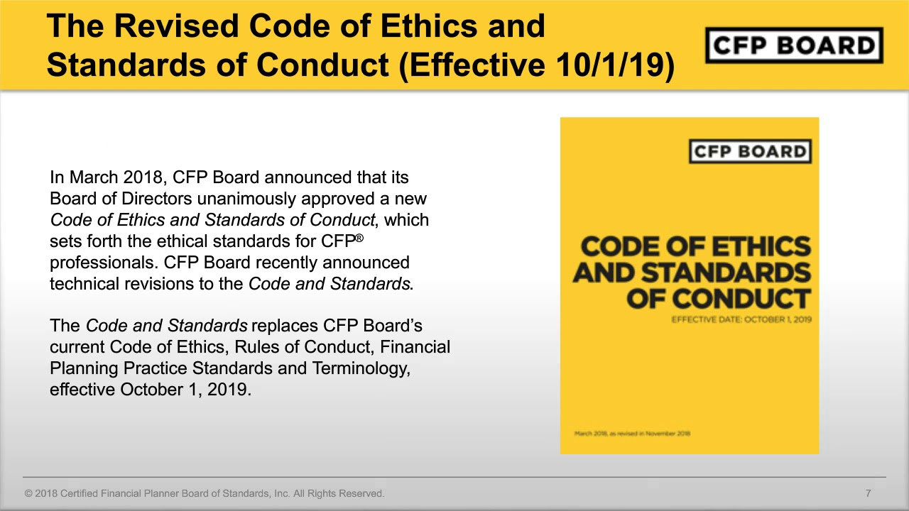 New Code of Ethics and Standards of Conduct