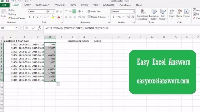 How to calculate Vacation Entitlement in Excel - YouTube