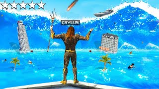 Surviving Biggest TSUNAMI As AQUAMAN In GTA 5..