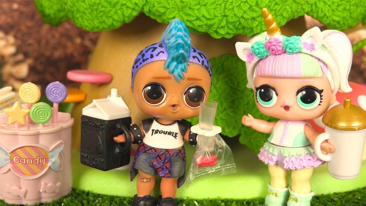 Coloriage Poupee Lol Garcon A Imprimer.Poupees Lol Histoires Unicorn Et Punk Boi Cabane Dans La Foret