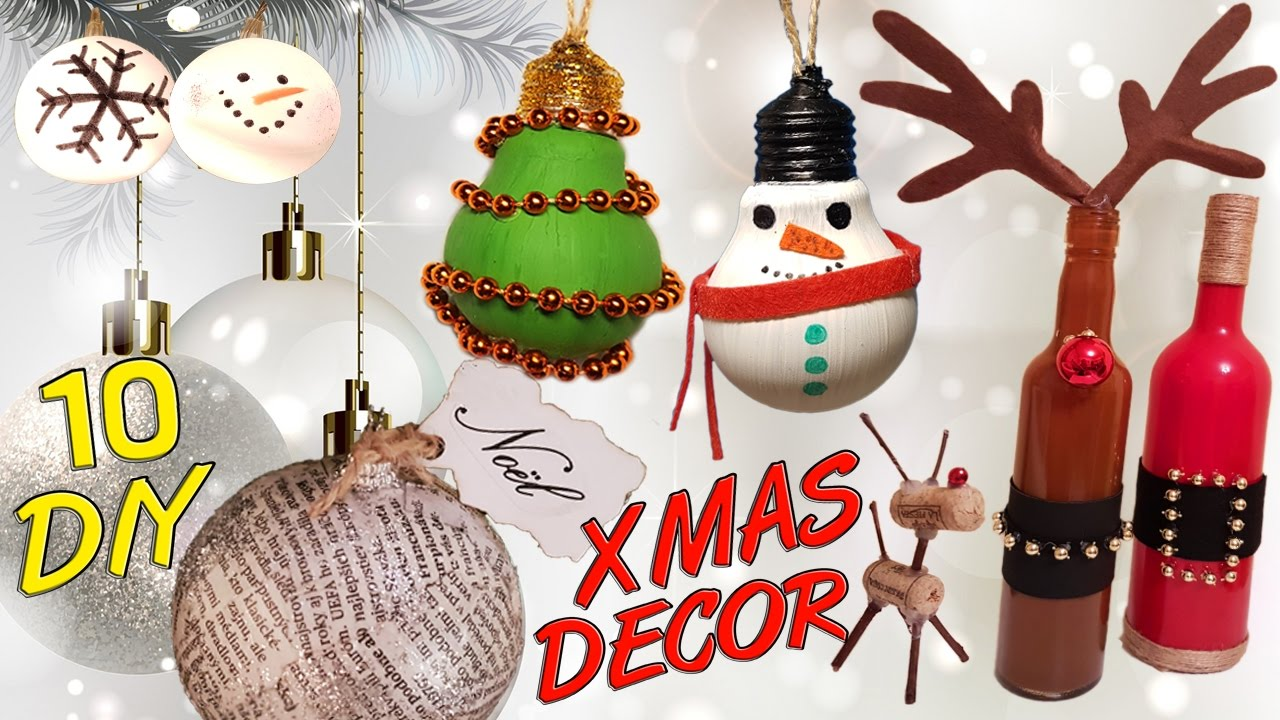 10 DIY Christmas recycled decoration HOW TO! - YouTube