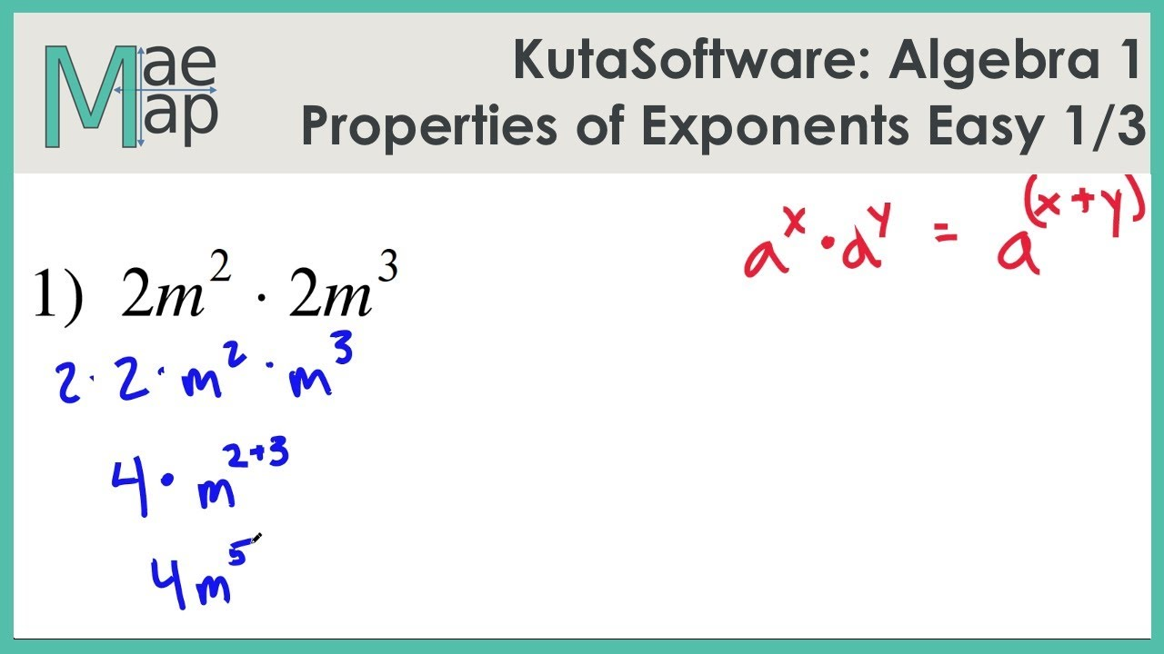 Kutasoftware Algebra 1 Properties Of Exponents Easy Part 1 Youtube