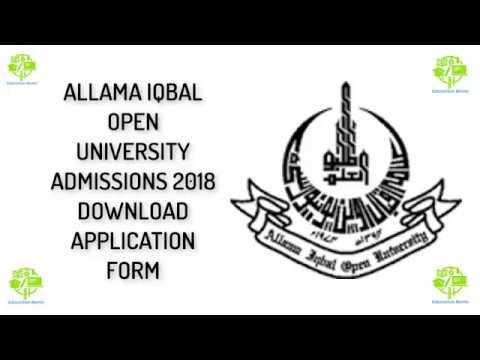 ALLAMA IQBAL OPEN UNIVERSITY ADMISSIONS 2018 DOWNLOAD