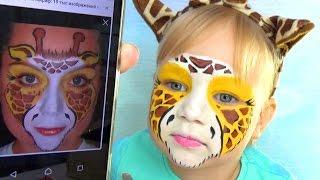 Алиса ЖИРАФ делаем аквагрим макияж для детей GIRAFFE face painting makeup for kids