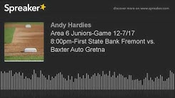 Area 6 Juniors-Game 12-7/17 8:00pm-First State Bank Fremont vs. Baxter Auto Gretna