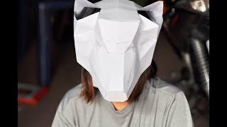How to make poly 3d wolf mask