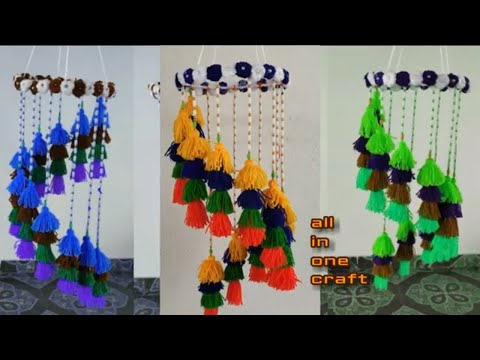 Woolen Craft Idea // Beautiful Wall Hanging //DlY - Woolen Wall Craft//Amazing Craft Pom Pom Woolen