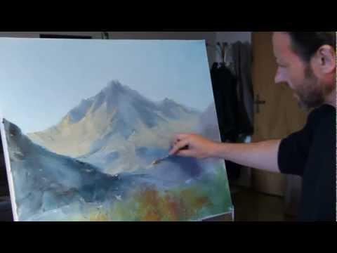Russian Bob Ross. the most famous Russian artist Igor sugars. Mountain landscape.