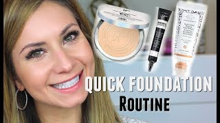 My Quick Powder Foundation Routine SPF 50 & How I Apply IT Cosmetics Concealer without looking Cakey