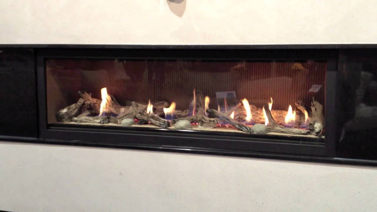 LHD62 Gas Fireplace Napoleon Beach Driftwood Log Set w Fluted Panels Direct Vent  YouTube