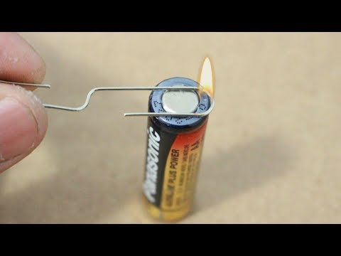How To Make Fire With A Single Battery And Paper Clip   Survival Hack