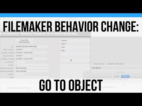 FileMaker Behavior Change in  16 - Go To Object - FileMaker Video Training