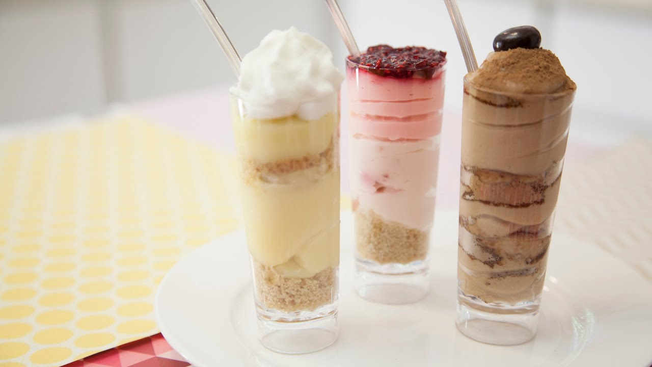 3 MINI DESSERT SHOOTERS RASPBERRY CHEESECAKE TIRAMISU BANANA CREAM PIE