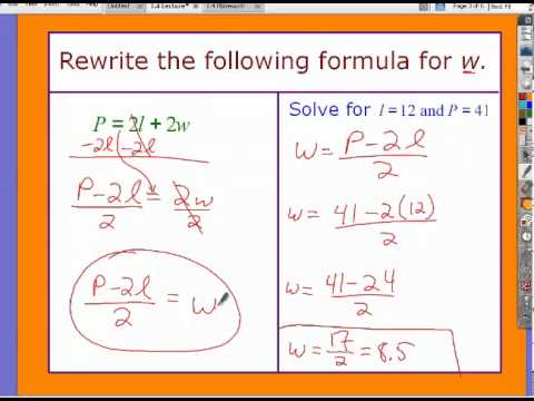 Algebra 2 Chapter 1 Section 4 Lecture Rewrite Formulas And Equations