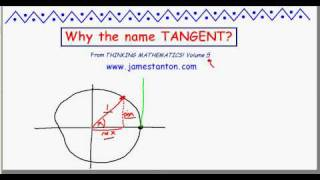 "Why is tangent called ""tangent"" in trigonometry? (TANTON Mathematics)"
