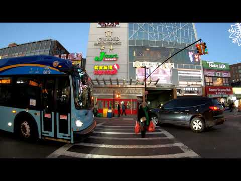 ⁴ᴷ⁶⁰ Walking NYC (Narrated) : Downtown Flushing, Queens (Main St, Kissena Blvd, Union St, Prince St)