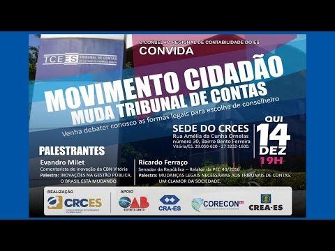 Movimento Cidadão, hoje 14/12/17, às 19h na sede do CRCES.
